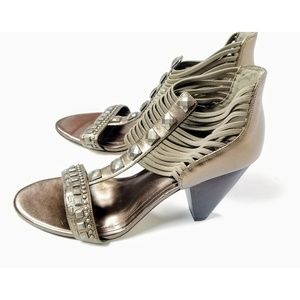Vince Camuto Strappy Jeweled Bronze Heels
